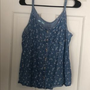 Button Front Chambray Tank
